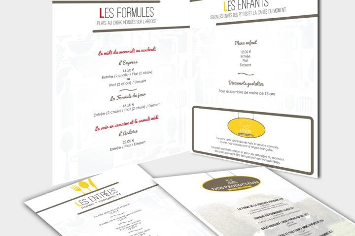 Carte menu restaurant auberge de la houssaye