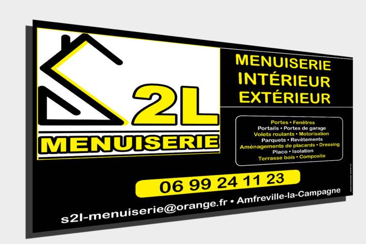 Panneau publicié club sport gymnase Le Neubourg S2L Menuiseries