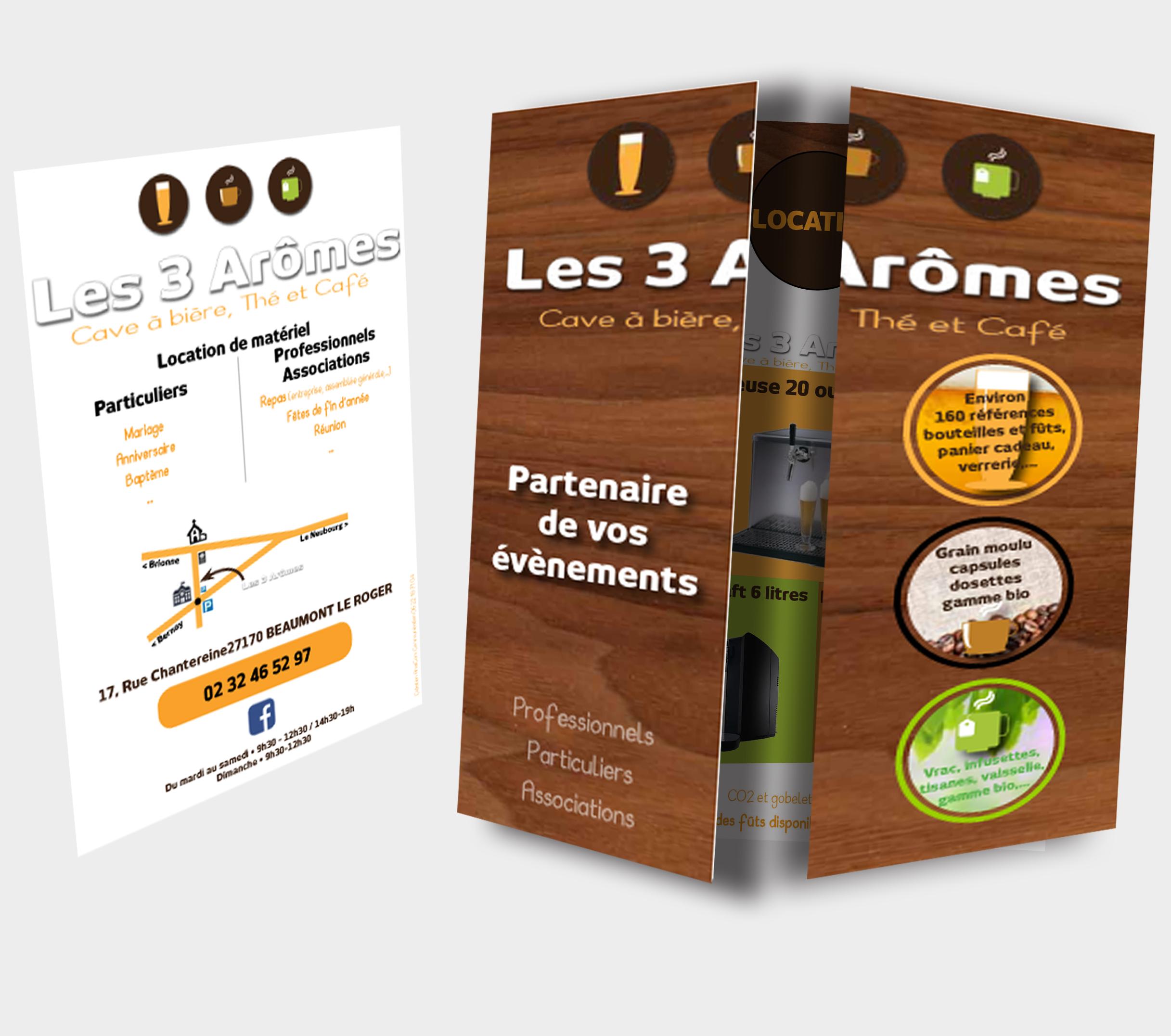 dépliant location materiel les 3 aromes beaumont le roger bernay le neubourg communication depliant impression Eure Normandie