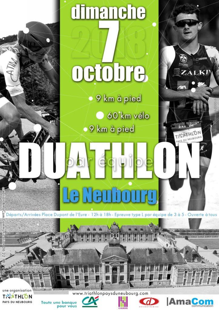 création affiche évènement sport agence de communication le neubourg eure normandie duathlon le neubourg