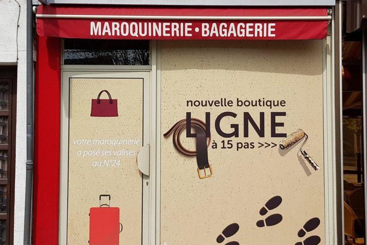 impression adhésif vitrine magasin le neubourg eure normandie ligne maroquinerie agence de communication