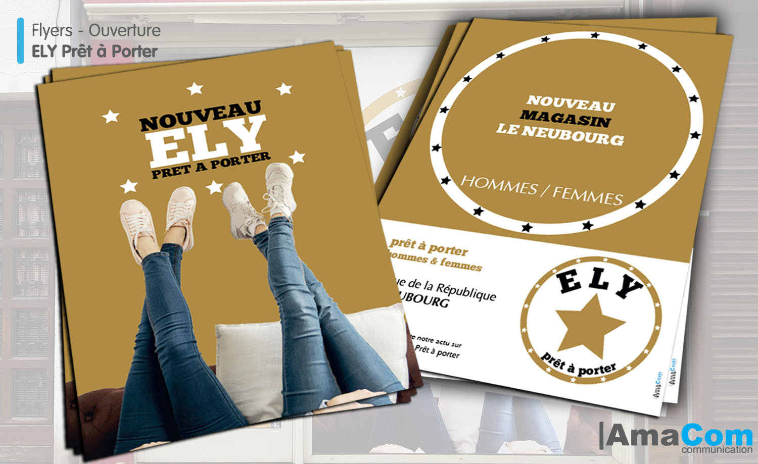 creation impression flyer le neubourg eure normandie magasin pret a porter ely agence communication