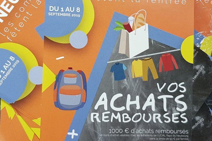 communication association commercants achats rembourses ucial pays du neubourg affiche flyers banderole le neubourg eure normandie