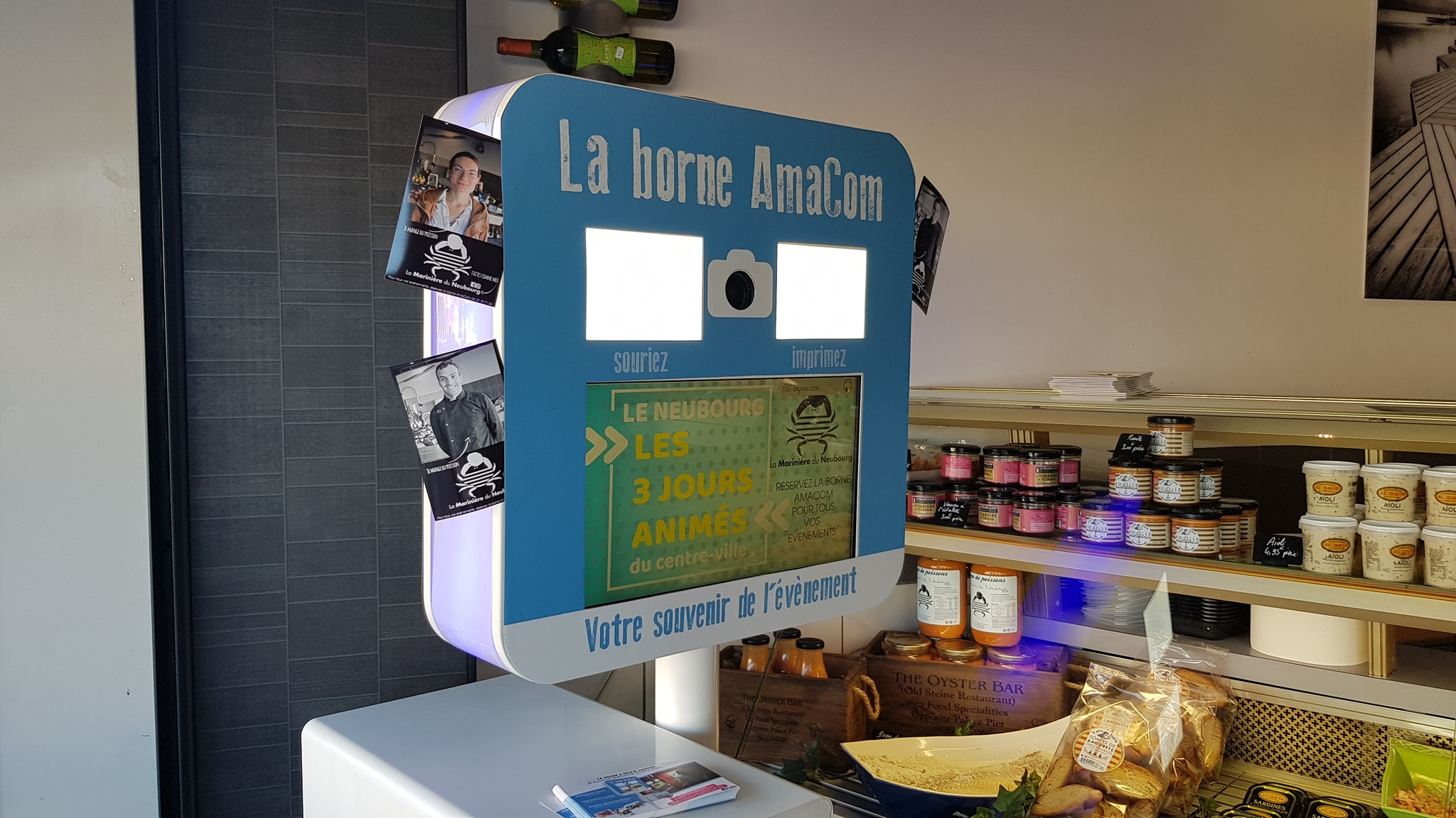 borne selfie photobooth animation commerciale poissonnerie le neubourg la mariniere du neubourg eure normandie