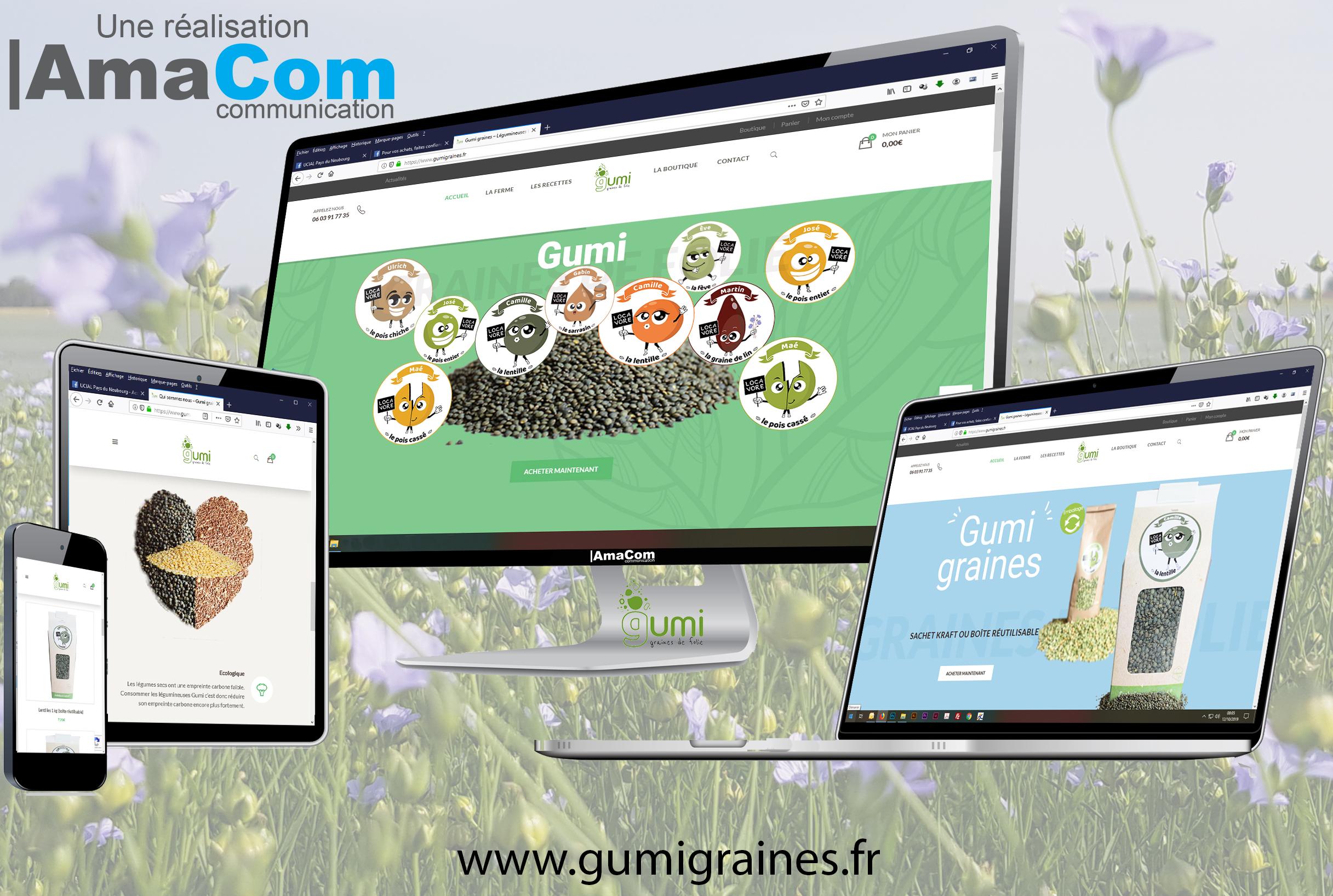 site internet personnalisé ferme gumi graines légumineuses lentille lin pois le neubourg conches eure normandie