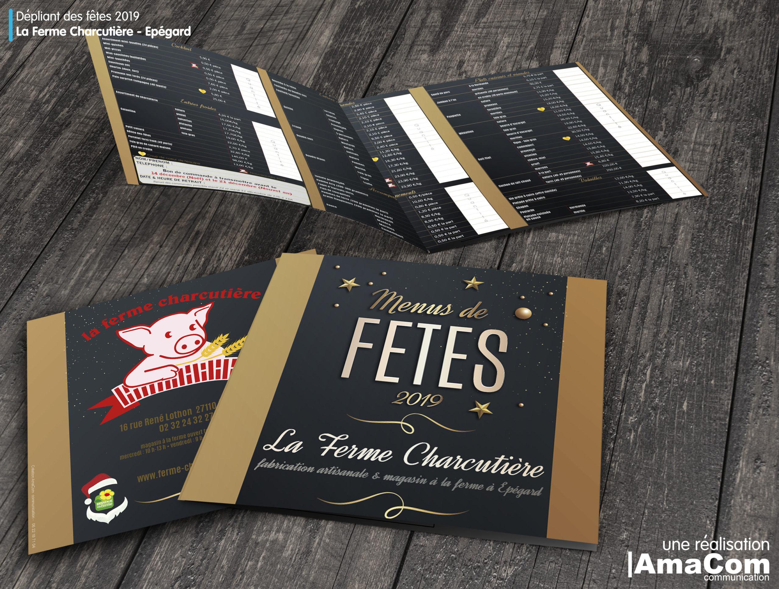 dépliant menus de fêtes La Ferme Charcutiere Epegard Le Neubourg charcutierie à la ferme eure normandie