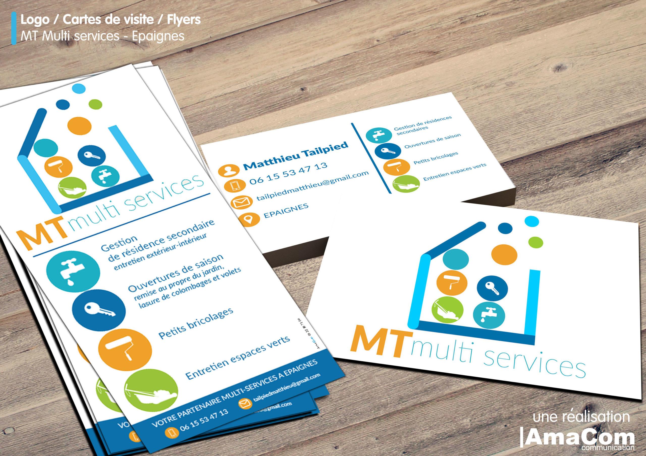 communication globale logo carte de visite flyer mt multiservice à Epaignes Eure Normandie