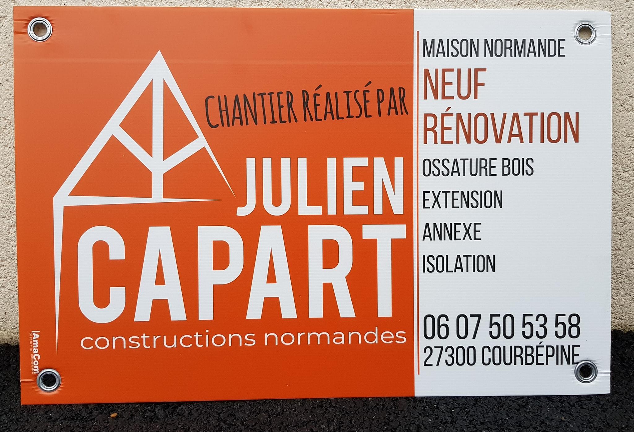 panneau de chantier akilux entreprise de construciton Capart à Courbépine près de Bernay Eure Normandie
