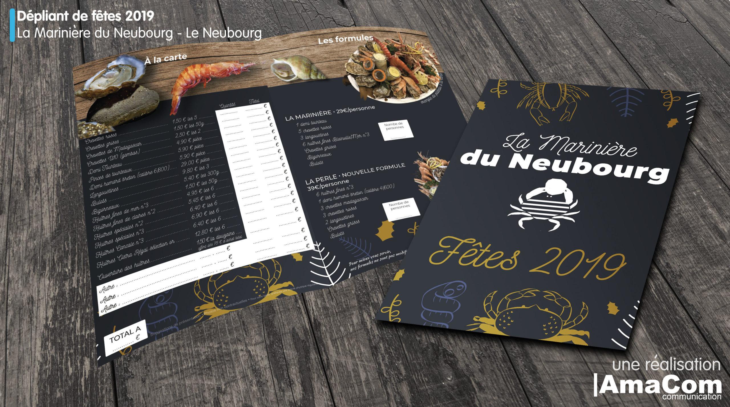 Dépliant de fêtes de fin d'année Poissonnerie La Marinière du Neubourg Eure Normandie