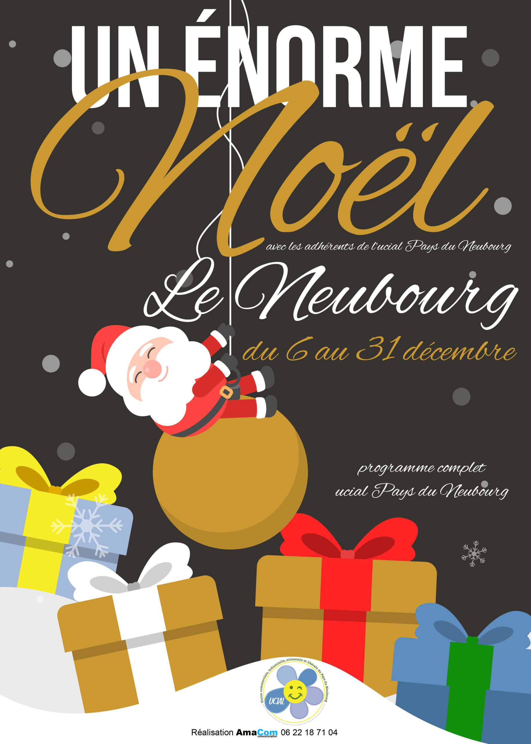 communication fêtes noel commercants Le Neubourg UCIAL affiche dépliant